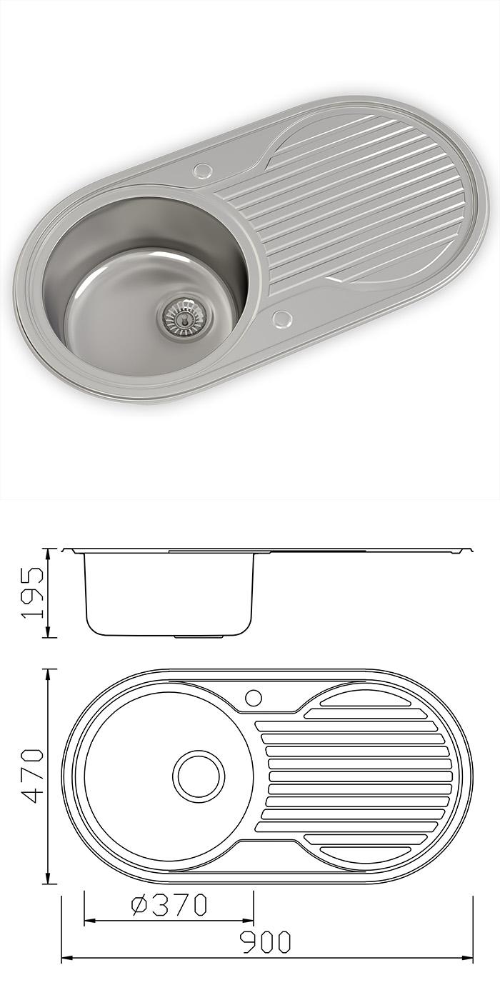 New stainless steel kitchen sink amp waste single 1 0 bowl 1 5 bowl - Es2010 1 0 Round Bowl Kitchen Sink