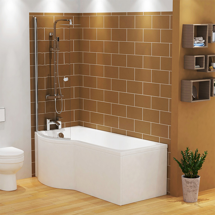 1500mm P Shaped Shower Bath Abacus Left Hand Glass Screen Bath