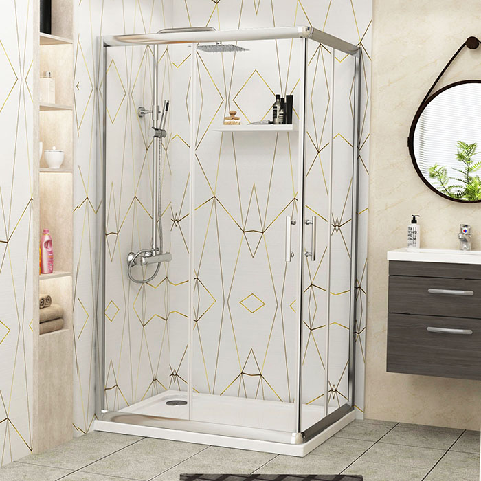 Corner Entry Glass Sliding Door Cubicle Rectangle Shower Enclosure + ...
