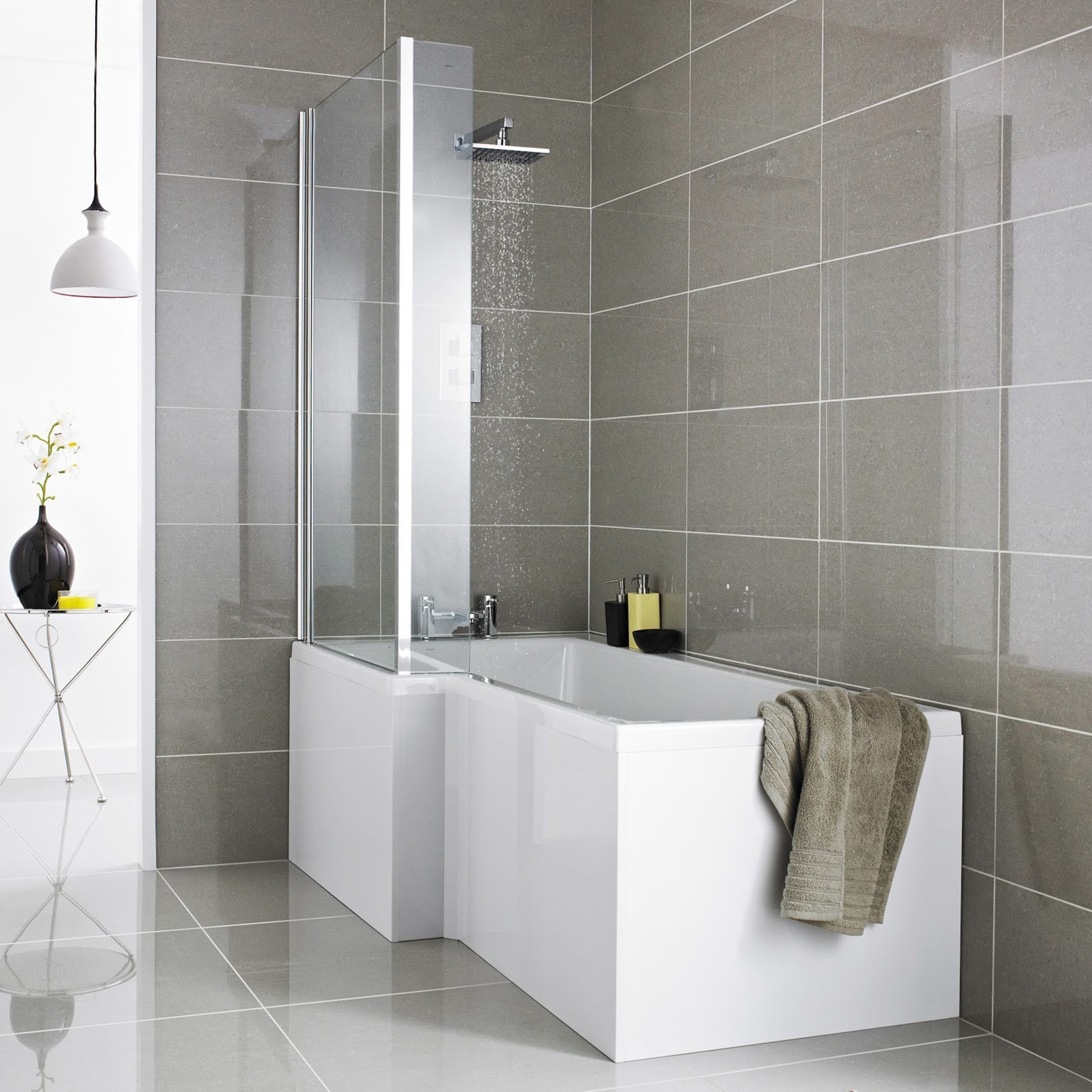 Left & Right Hand L-Shaped Modern Shower Bath with Screen, Front and ...
