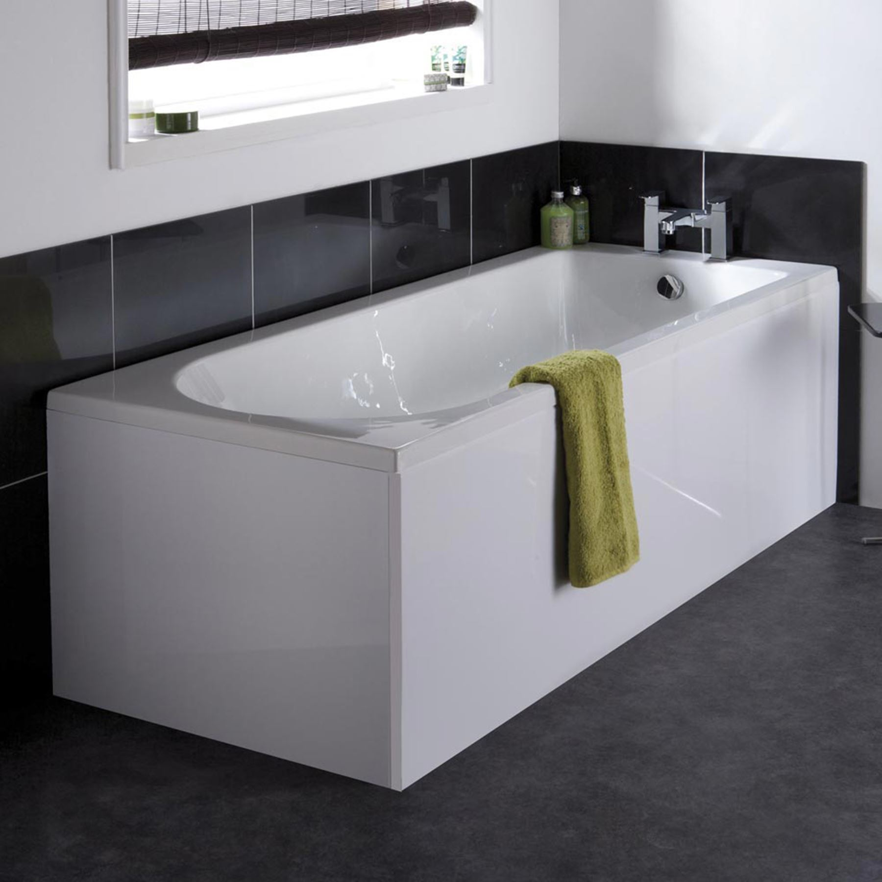 Modern Barmby Single Ended Gloss White Acrylic Bath Tub Bathroom ...