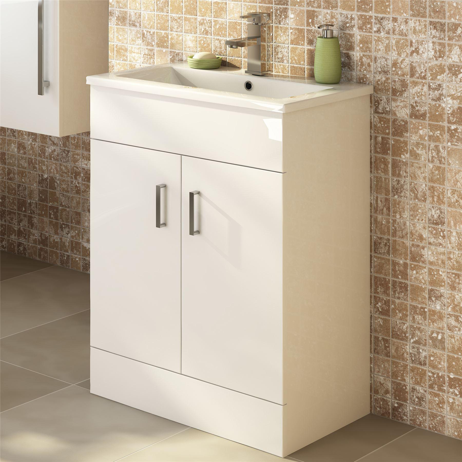 450mm modern white bathroom floor standing vanity unit - Bathroom sink units free standing ...