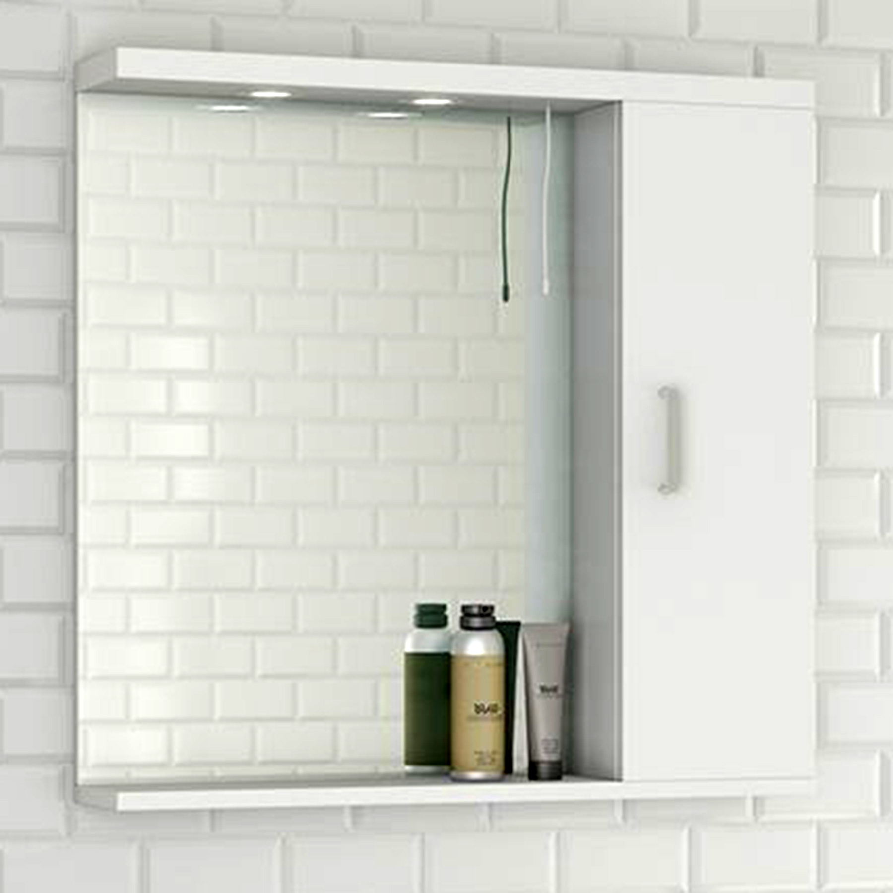 750mm Gloss White Modern Bathroom Wall Hung Mirror Unit with 2 ...