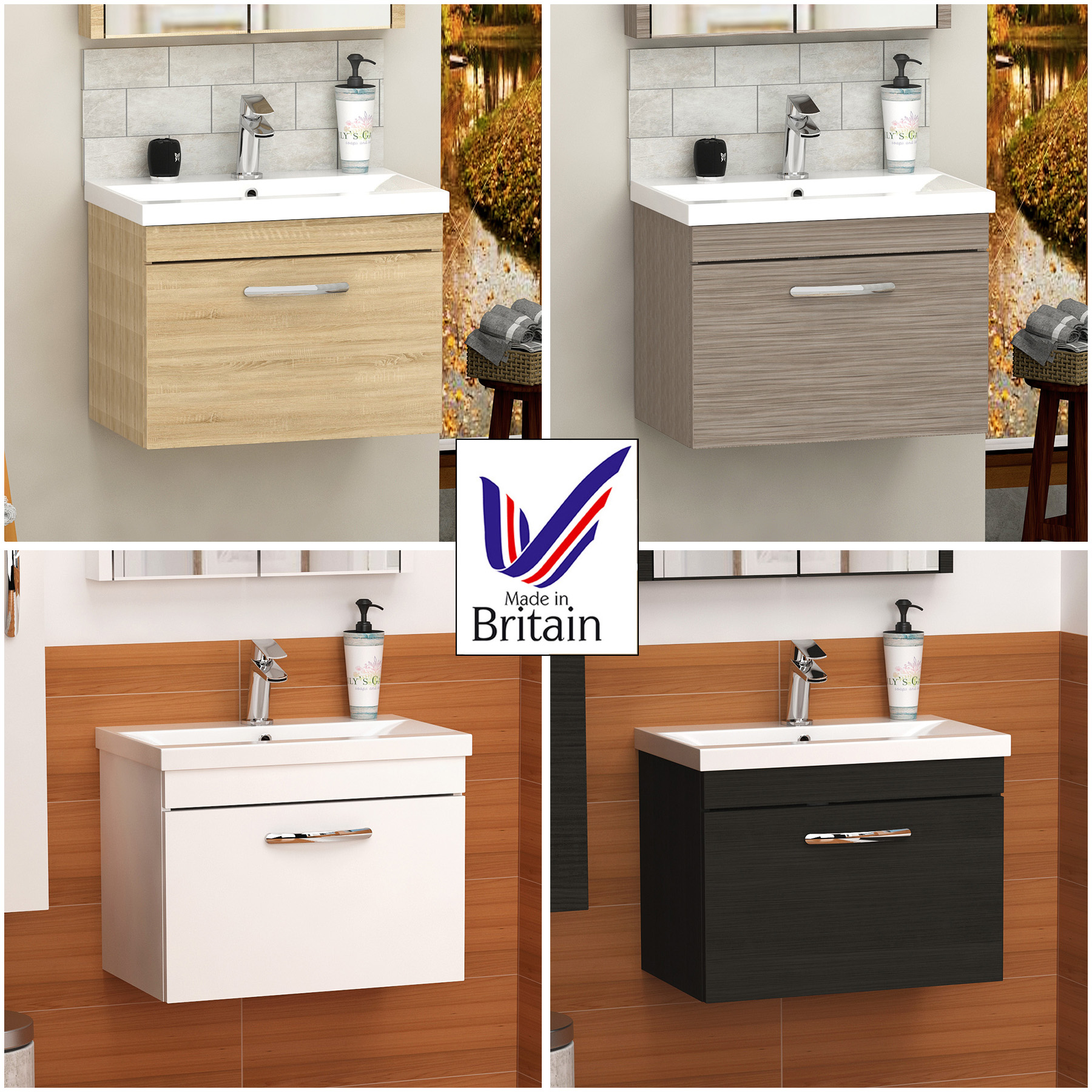 Prime Details About 500 600 800Mm Modern Bathroom Vanity Unit Cabinet Basin Sink Wall Hung 1 Drawer Download Free Architecture Designs Grimeyleaguecom