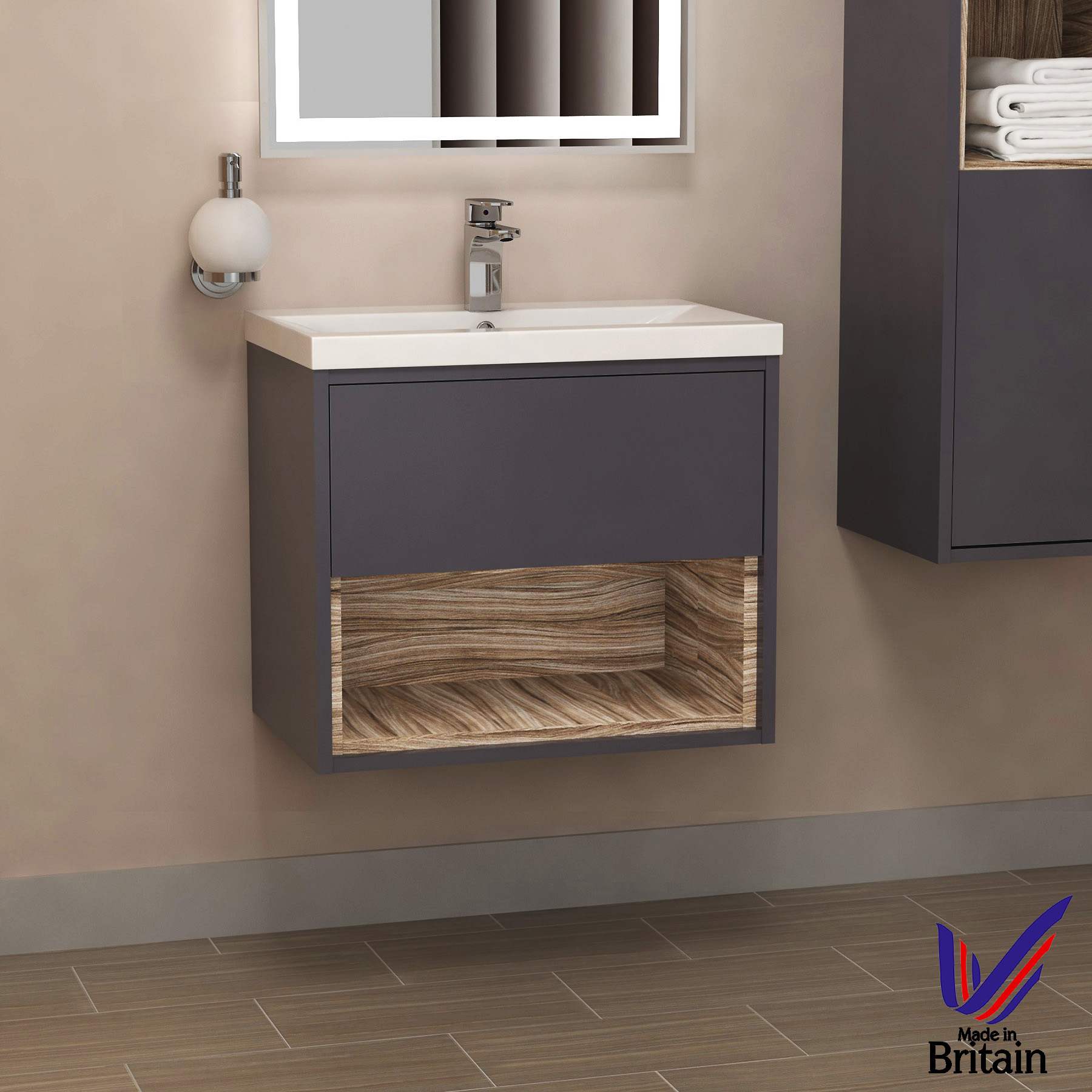 sale retailer 3128b cbc84 Details about 500mm Wall Hung Vanity Unit 1-Drawer Bathroom Cabinet Basin  Sink - Gloss Grey