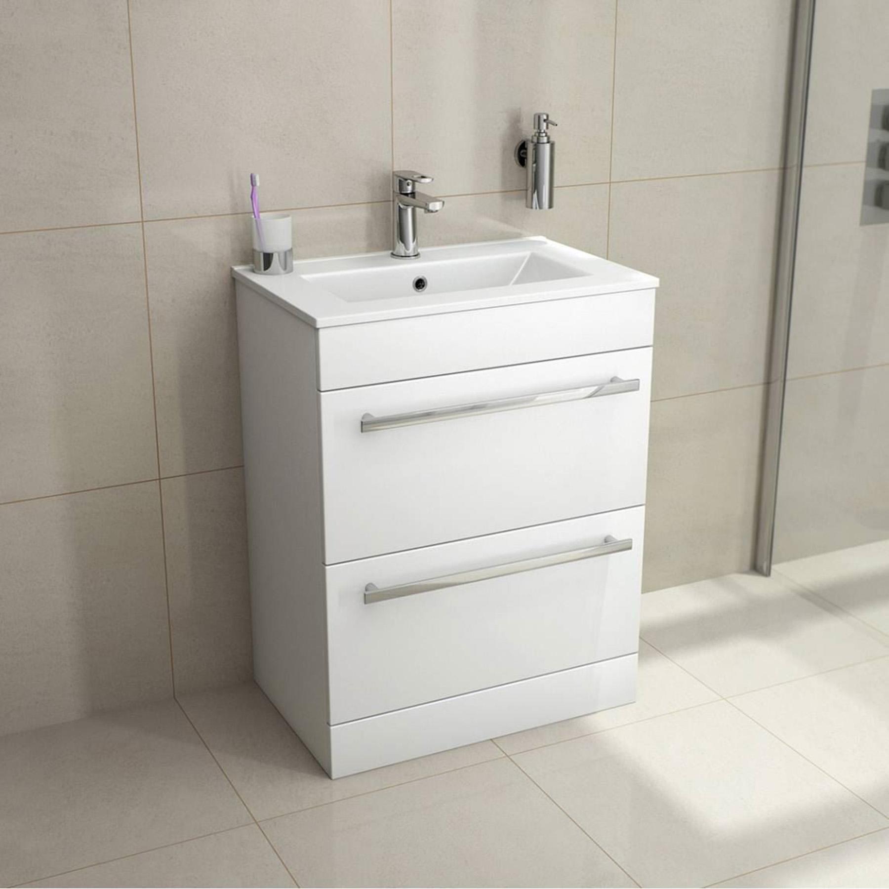 800mm Modern Bathroom White Floor Standing Vanity Unit Drawer Basin
