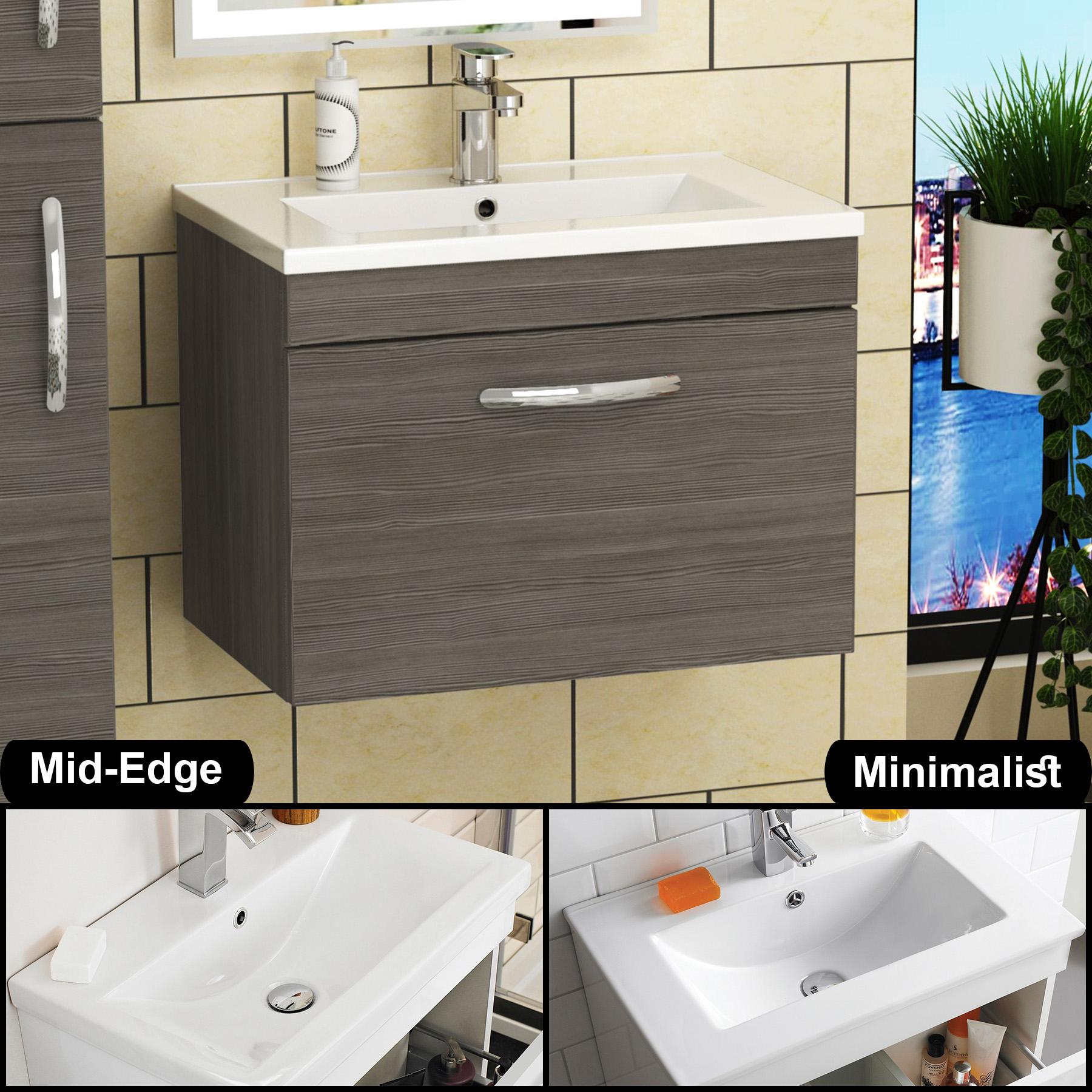 800mm Bathroom Vanity Unit Grey Elm Wall Hung Basin Sink 1