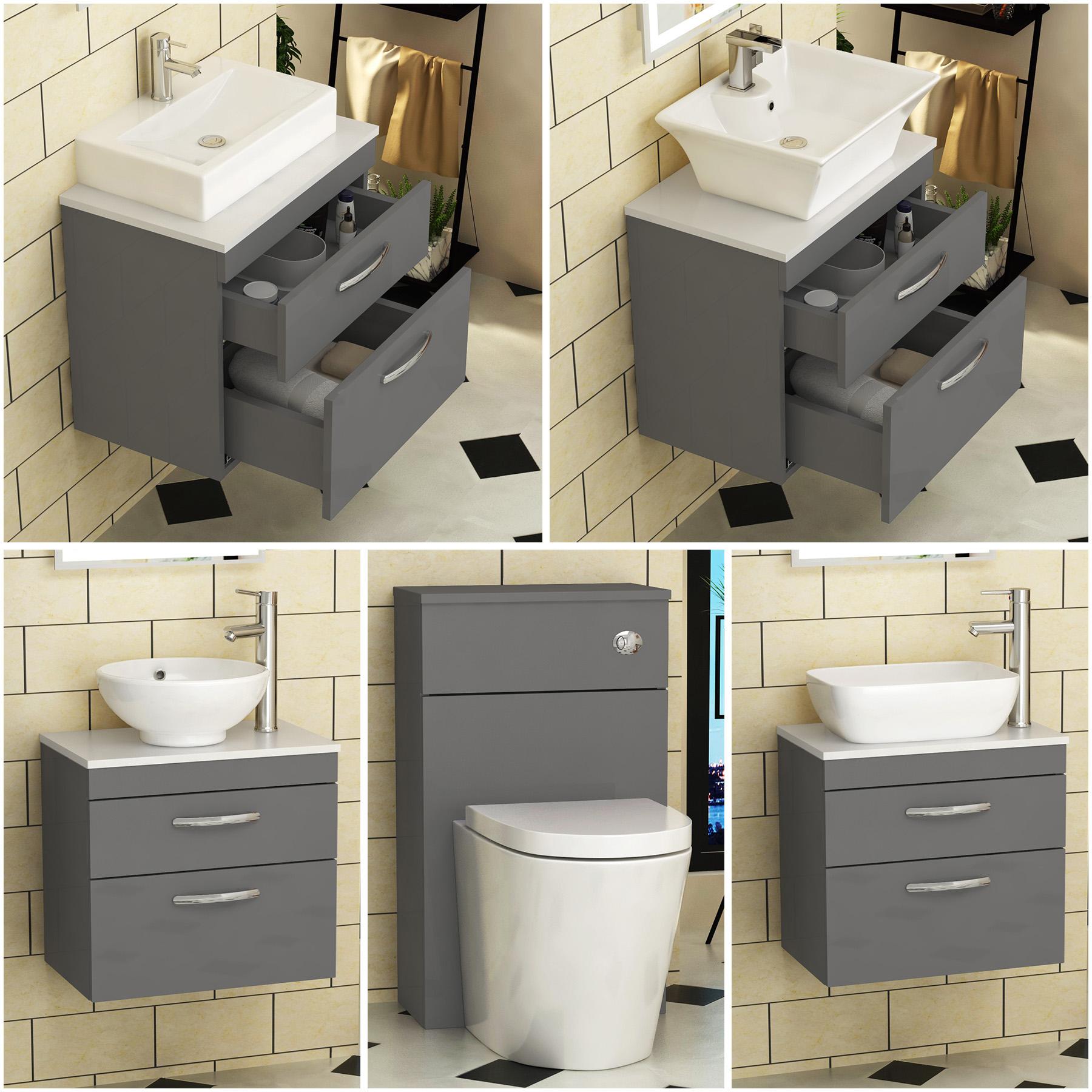Bathroom Vanity Unit Countertop Basin Sink Grey Elm Cabinet Storage and WC Pan