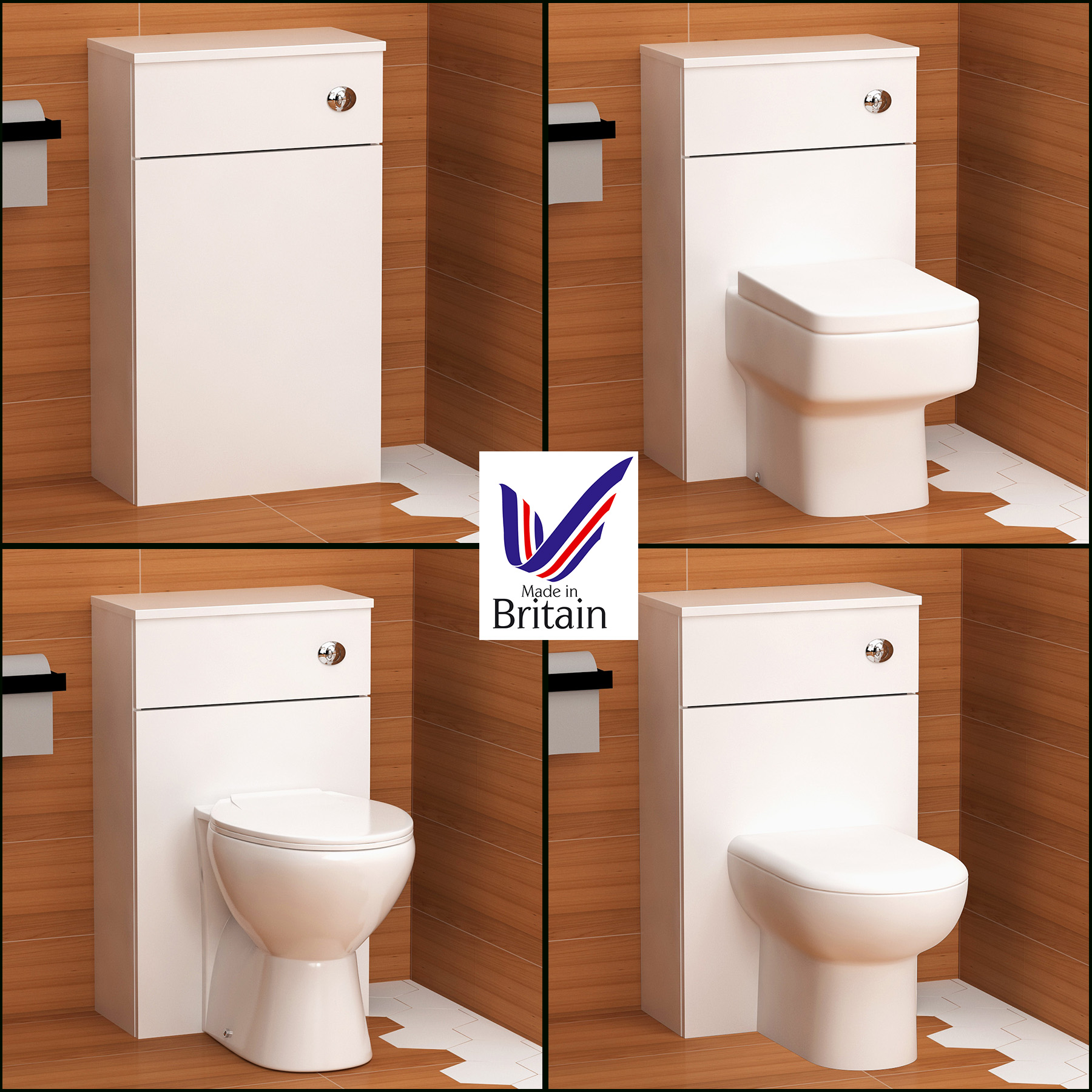 Crosby BTW Pan Back to Wall Toilet White with WC Quick Release Soft Close Seat