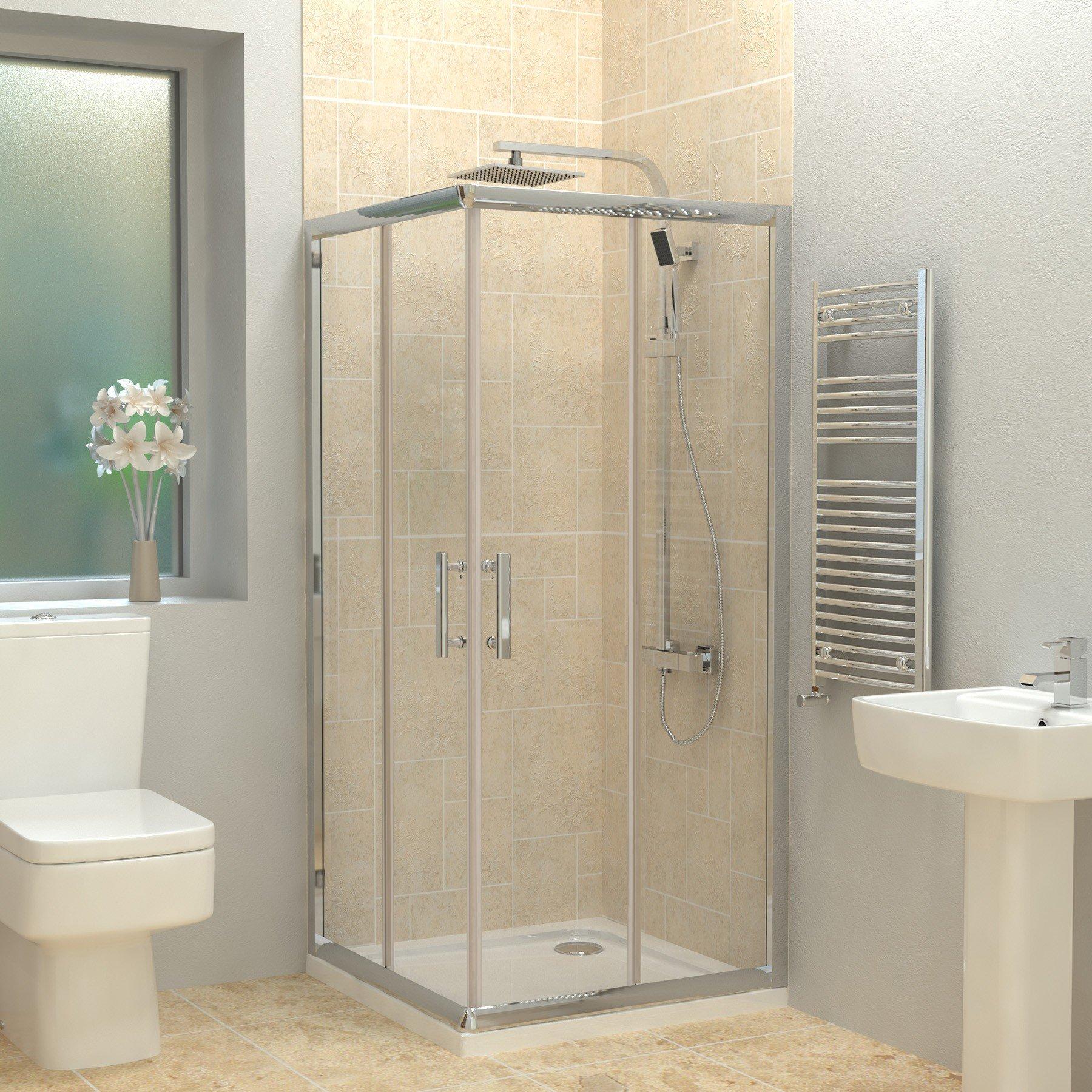 Corner Entry 6mm Glass Sliding Door Square Cubicle Shower