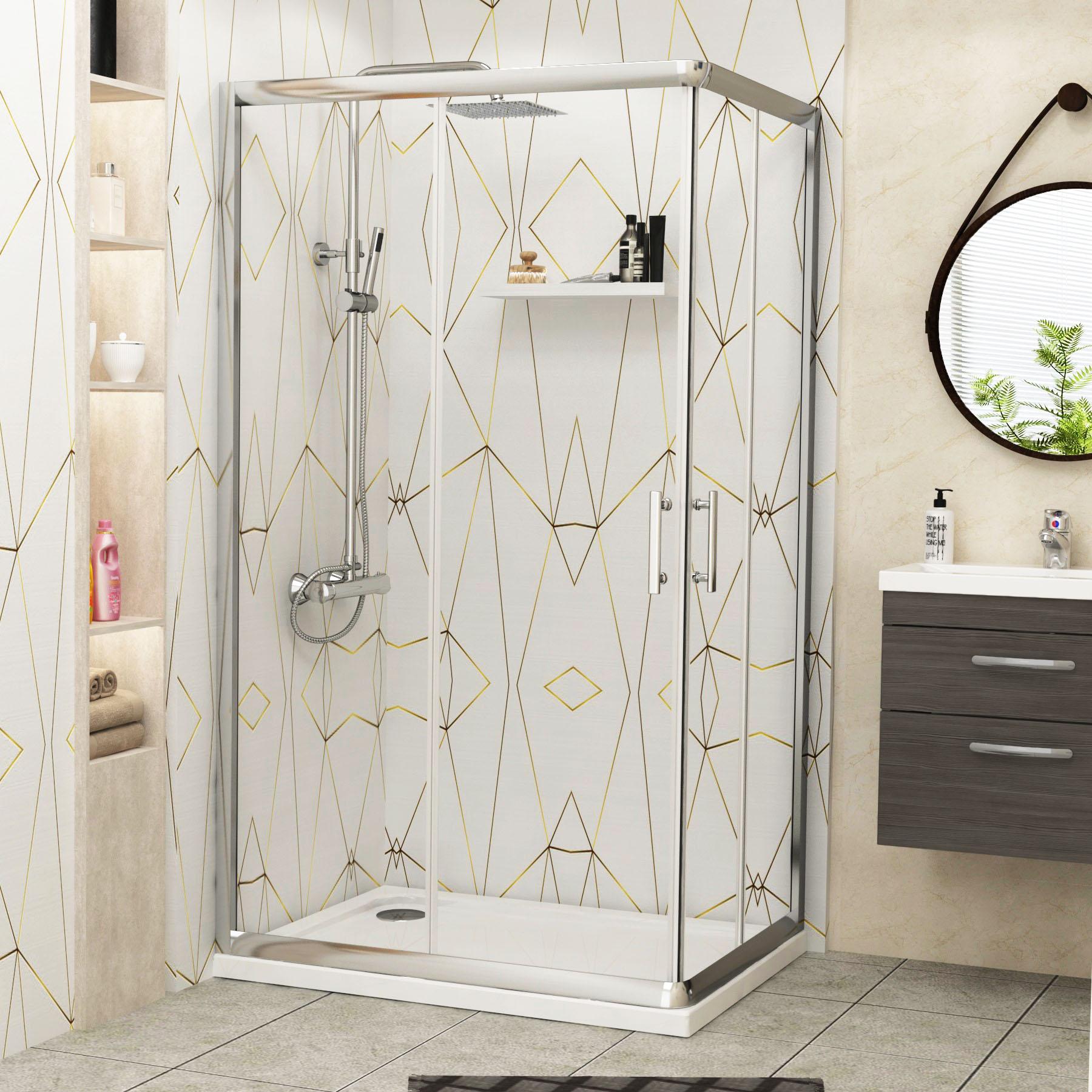 Modern Corner Entry 6mm Glass Sliding Door Cubicle Shower Enclosure ...