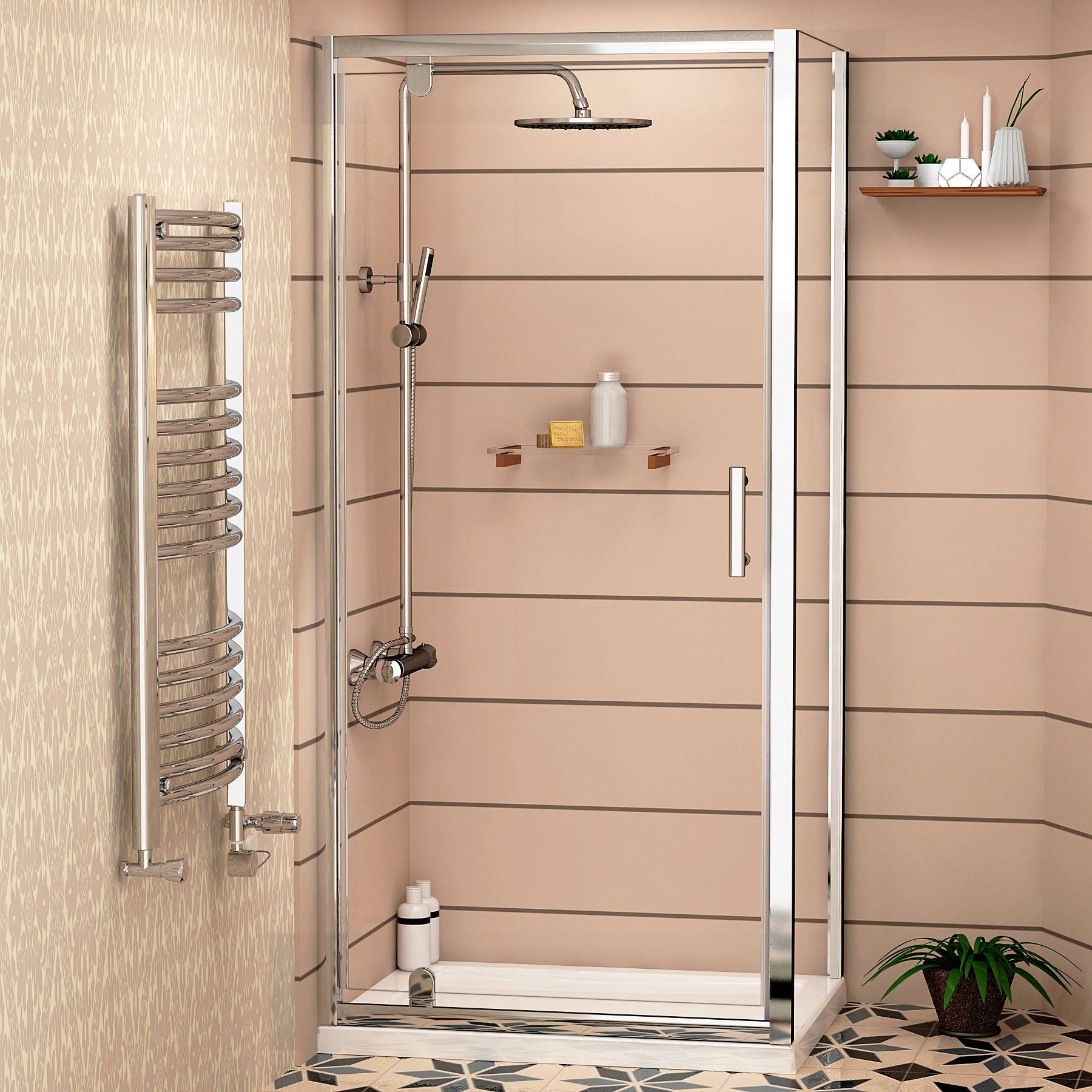 Easy Hinged Pivot Door Shower Enclosure And Tray 6mm