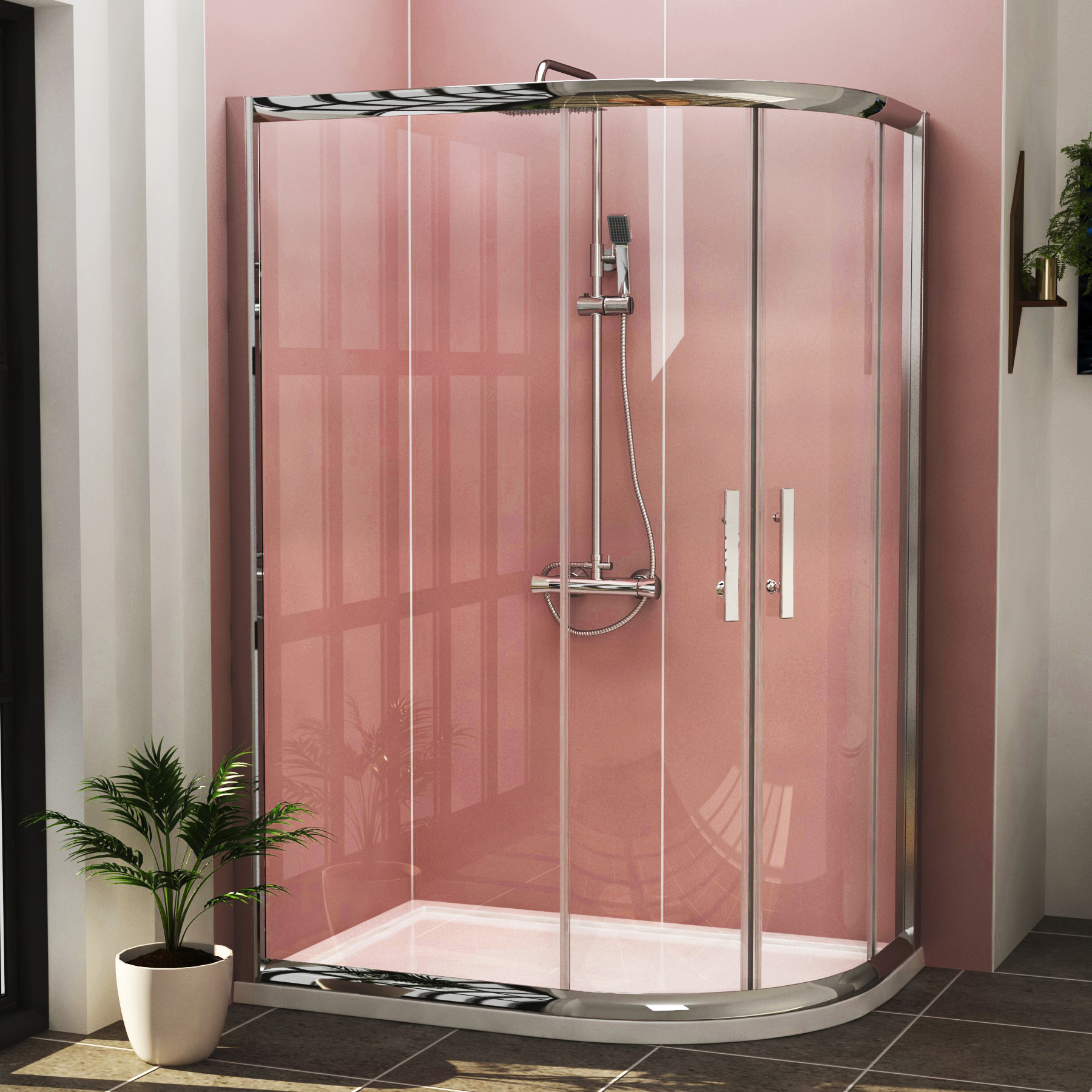 8mm Curved Walk in Shower Enclosure Easy Clean Glass 1200 x 800mm ...