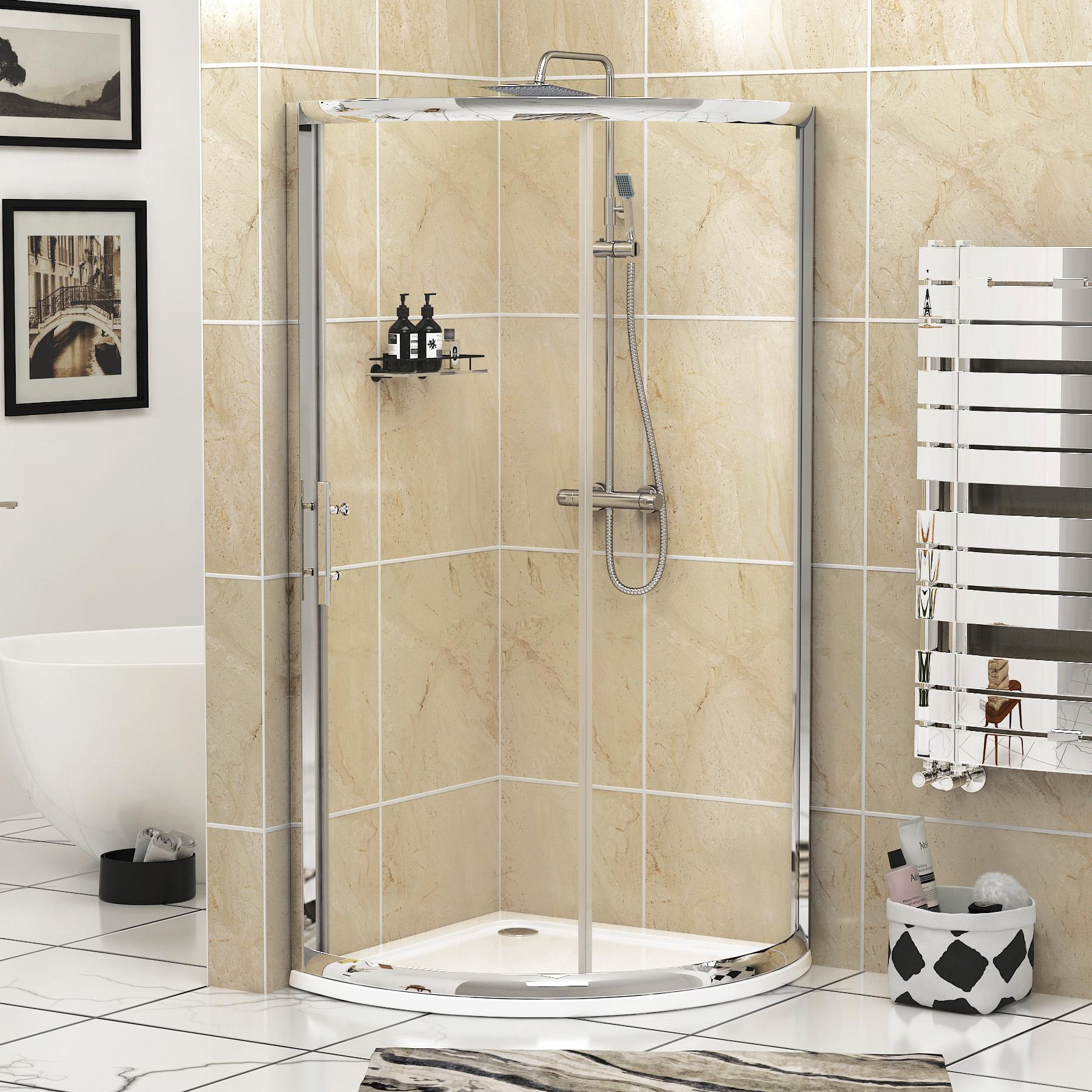 Single Sliding Door Quadrant Corner Walk in Shower Enclosure Cubicle ...