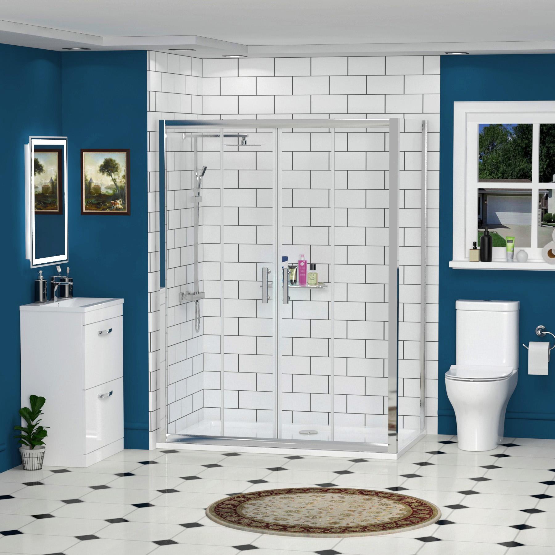 Easy Walk in Glass Double Sliding Door Corner Shower Enclosure ...