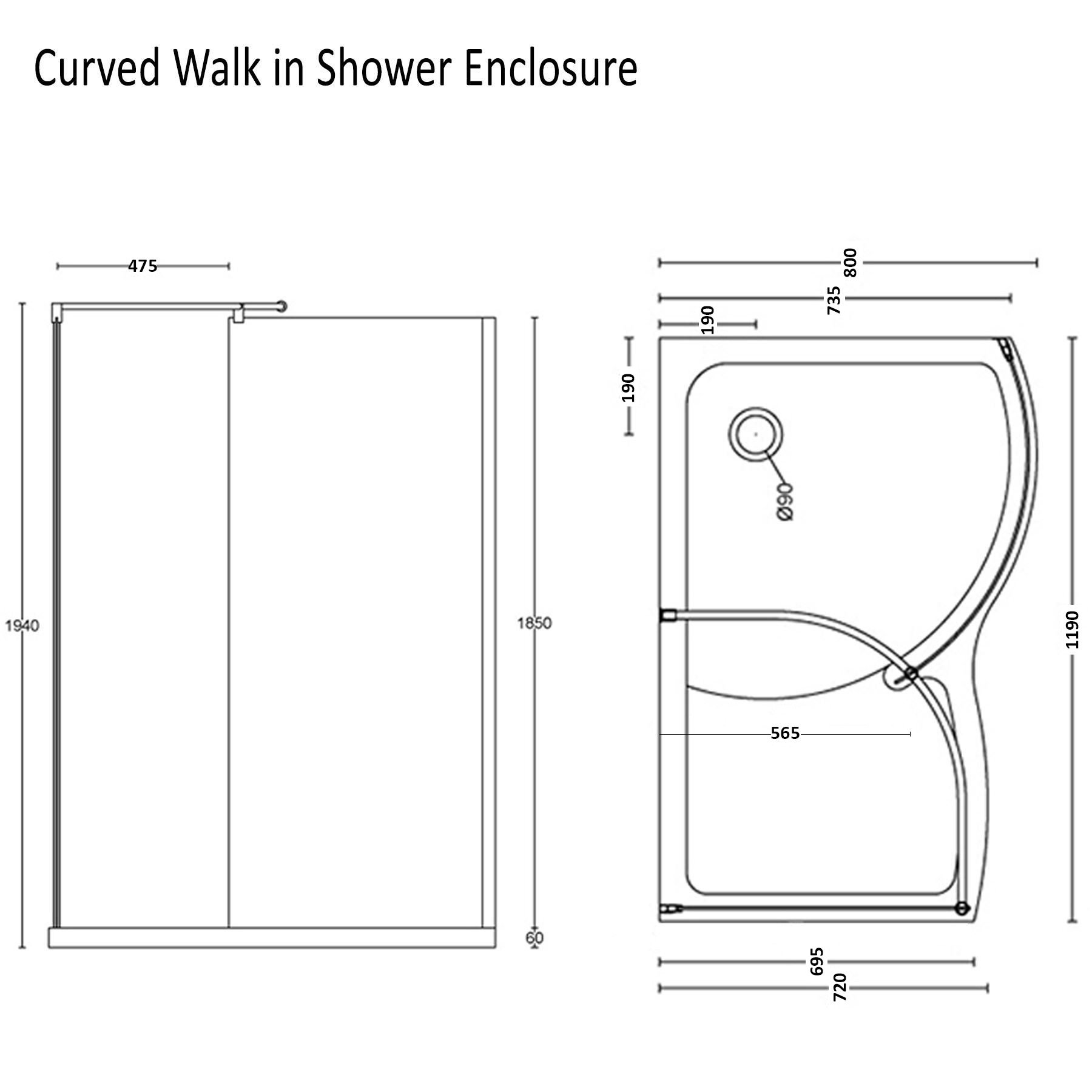 8mm curved walk in shower enclosure easy clean glass 1200x800mm right hand tray ebay - Walk in glass shower enclosures ...