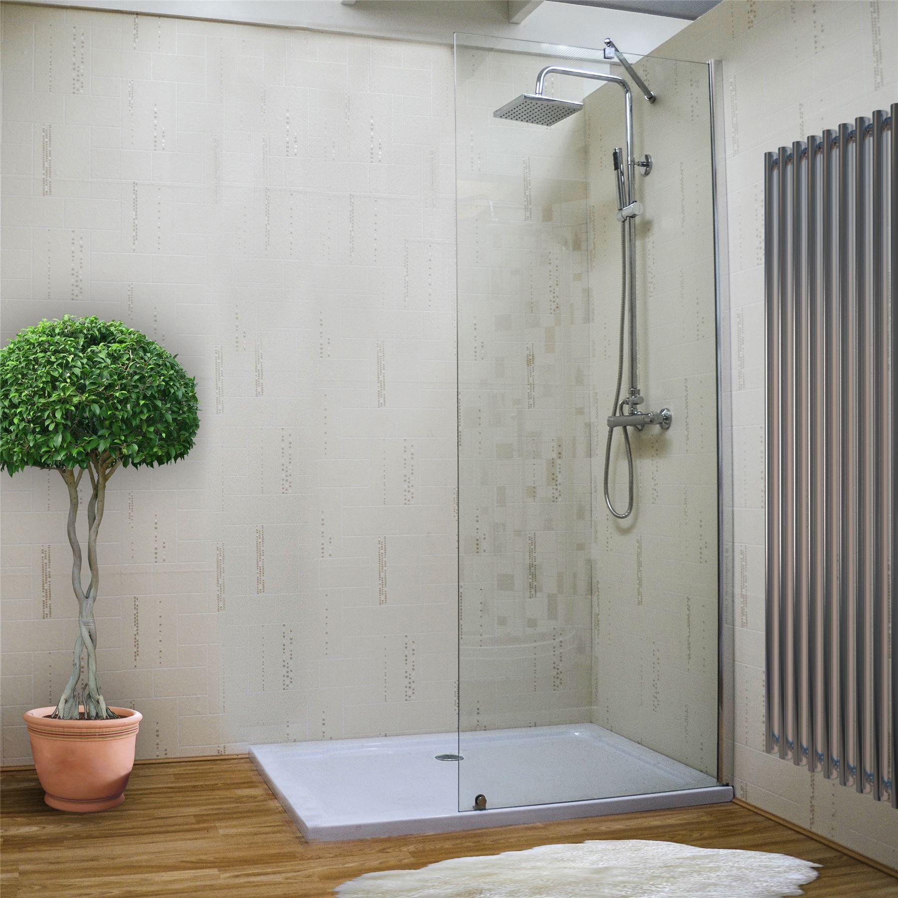 Details about 8mm walk in wet room screen shower enclosure cubicle tall glass screen panel