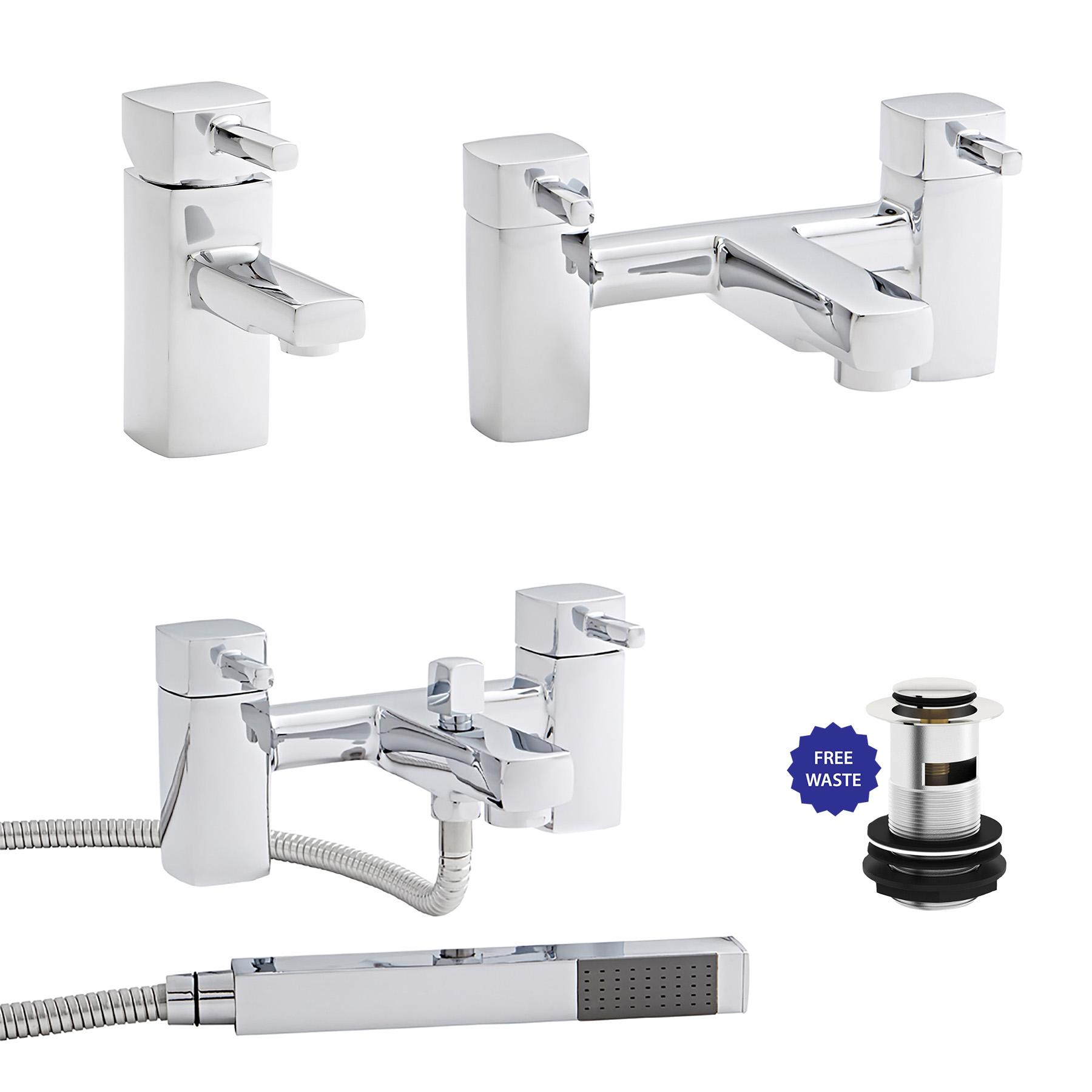 Modern Bathroom Chrome Mode Basin Mixer Sink Bath Filler Shower Taps ...