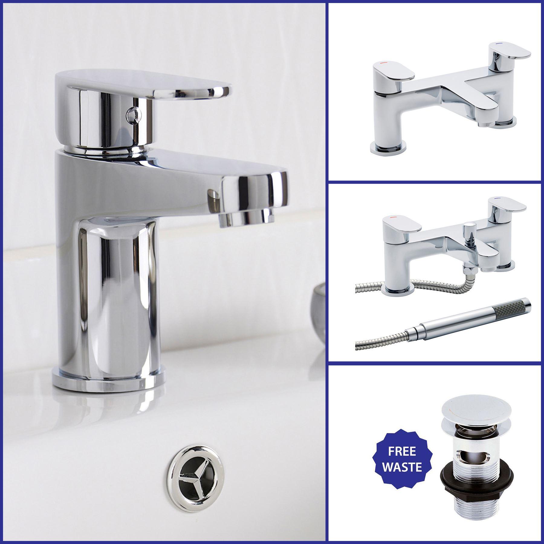 Modern Chrome Bathroom Taps Sink Basin Bath Filler Shower Mixer Set ...