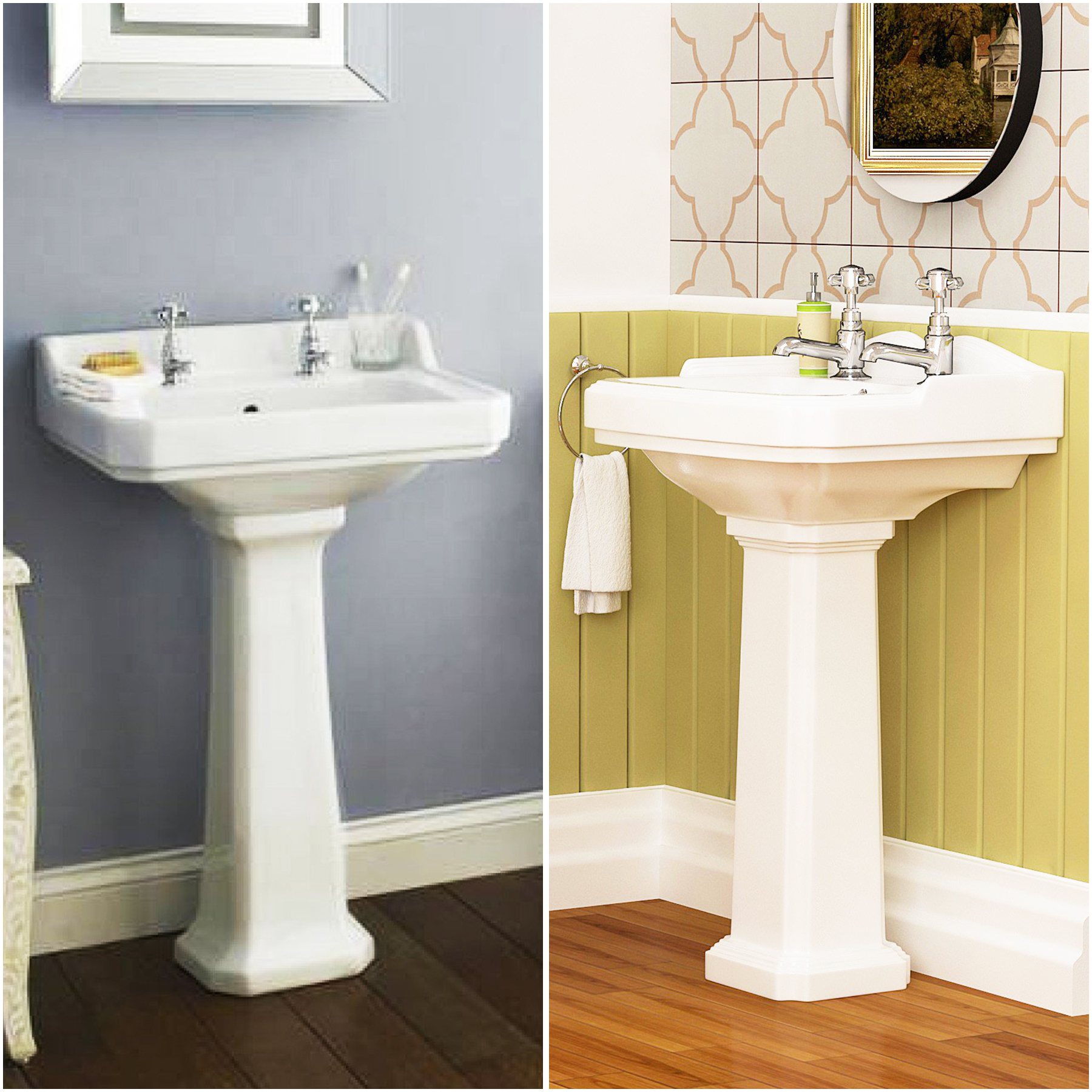 Delicieux Details About Traditional Victorian Style White Ceramic 2TH Bathroom Full  Pedestal Basin Sink