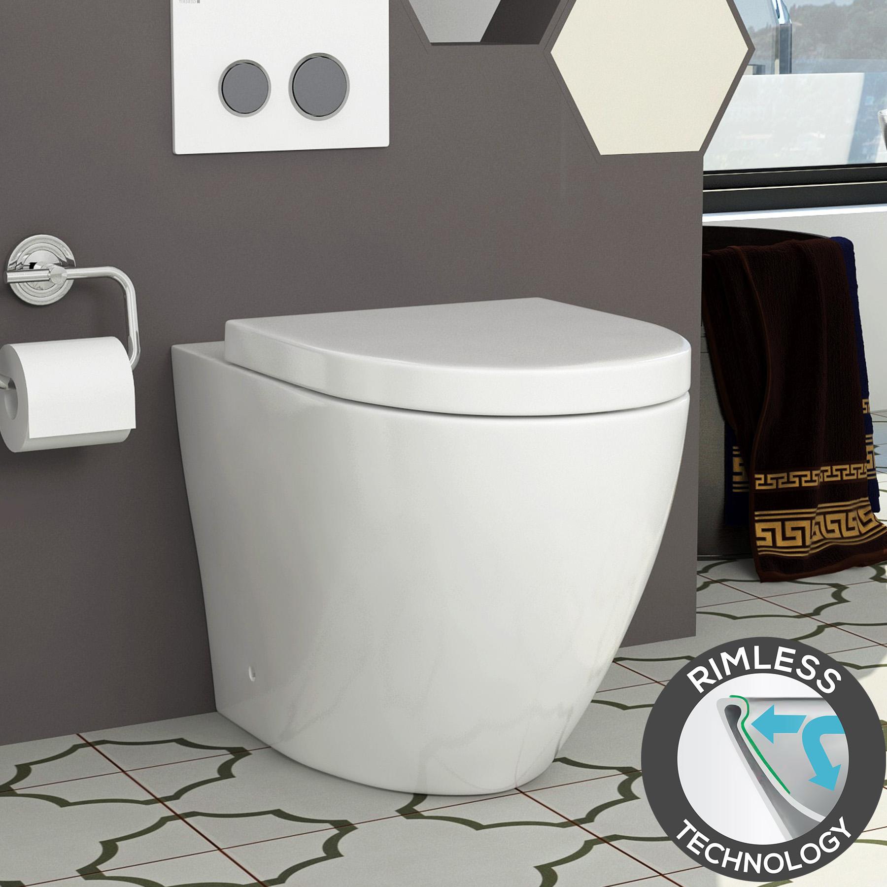 Abacus Close Coupled Bathroom Rimless Toilet Ceramic Pan Soft Close Seat Cistern